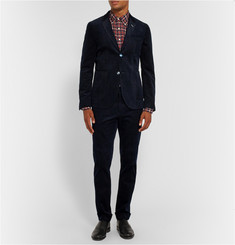 Gant Rugger Midnight-Blue Slim-Fit Cotton-Corduroy Trousers