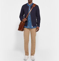 Gant Rugger The Zipper Ribbed Cotton-Blend Cardigan