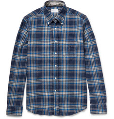Gant Rugger Button-Down Collar Checked Brushed Cotton-Twill Shirt