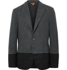 Barena Grey Colour-Block Wool-Blend Blazer