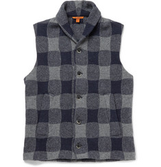 Barena Buffalo-Checked Wool-Blend Gilet