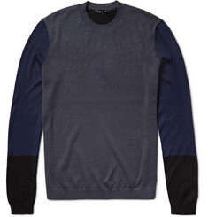 Theory Crenoy Colour-Block Merino Wool-Blend Sweater