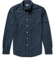 Steven Alan Collegiate Slim-Fit Striped Brushed-Cotton Shirt