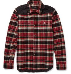 Undercover Slim-Fit Shell-Trimmed Checked Cotton-Flannel Shirt