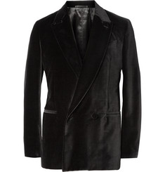 Berluti Black Unstructured Double-Breasted Velvet Blazer
