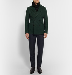Berluti Green Double-Breasted Felted-Cashmere Blazer