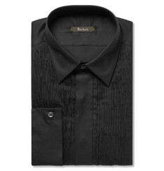 Berluti - Black Slim-Fit Pleated Cotton and Silk-Blend Tuxedo Shirt