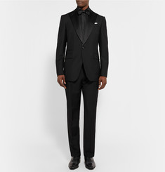Berluti Black Slim-Fit Pleated Cotton and Silk-Blend Tuxedo Shirt