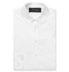 Gucci White Slim-Fit Cotton-Blend Poplin Shirt