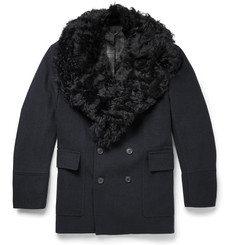Gieves & Hawkes Badric Shearling-Trimmed Wool Coat