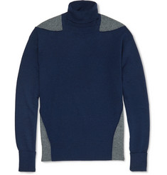 Alexander McQueen Two-Tone Wool, Silk and Cashmere-Blend Rollneck Sweater