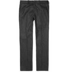 Alexander McQueen Grey Slim-Fit Pinstriped Wool Trousers