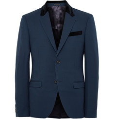 Alexander McQueen Storm-Blue Slim-Fit Wool and Mohair-Blend Blazer