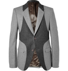 Alexander McQueen Grey Slim-Fit Panelled Wool Blazer
