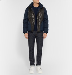 Alexander McQueen Shell and Leather Bomber Jacket