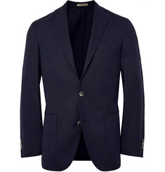 Burberry London Navy Slim-Fit Velvet-Trimmed Wool Blazer