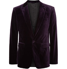 Burberry London - Dark-Purple Slim-Fit Velvet Blazer