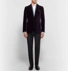 Burberry London Dark-Purple Slim-Fit Velvet Blazer