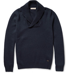 Burberry London Slim-Fit Shawl-Collar Ribbed Wool-Blend Sweater