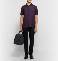 Burberry London Panelled Jacquard and Cotton-Piqué Polo Shirt