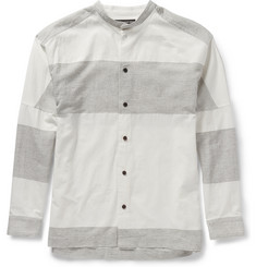 Issey Miyake Grandad-Collar Striped Cotton and Linen-Blend Shirt