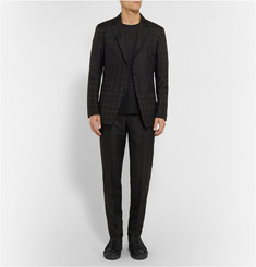 Issey Miyake Black Slim-Fit Checked Jacquard Trousers