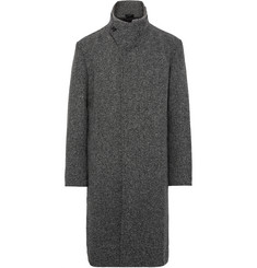 Issey Miyake Ribbed Knit-Trimmed Silk-Blend Tweed Overcoat