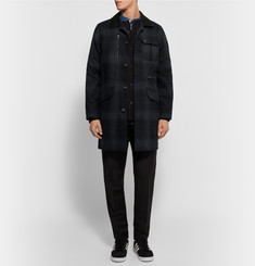White Mountaineering Checked Wool-Blend Flannel Coat