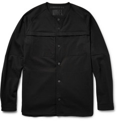 White Mountaineering Collarless Cotton-Blend Ponte Shirt Jacket