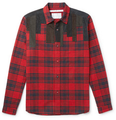 White Mountaineering Patchwork-Panelled Plaid Brushed Cotton-Flannel Shirt