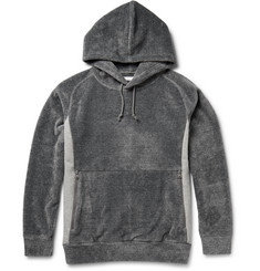 White Mountaineering Jersey-Panelled Fleece Hoodie