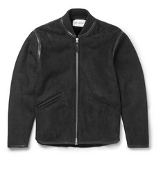 Our Legacy Leather-Trimmed Shearling Bomber Jacket