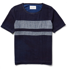Our Legacy Misdyed Denim-Panelled Brushed Cotton-Twill T-Shirt