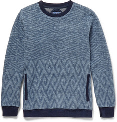 Blue Blue Japan Jacquard-Knit Cotton-Fleece Sweater