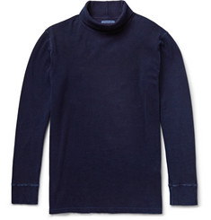 Blue Blue Japan Indigo-Dyed Ribbed Stretch-Cotton Rollneck T-Shirt