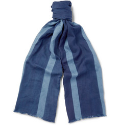 Blue Blue Japan Indigo-Dyed Striped Cotton-Gauze Scarf