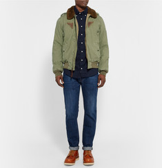 Polo Ralph Lauren Shearling-Trimmed Cotton-Canvas Down Bomber Jacket
