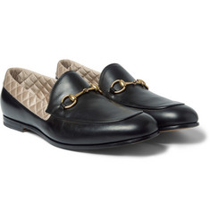 Gucci - Satin-Trimmed Leather Horsebit Loafers