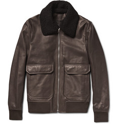 Acne Studios Abel Shearling-Trimmed Leather Bomber Jacket