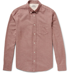 Acne Studios Isherwood Button-Down Collar Puppytooth Brushed-Cotton Shirt