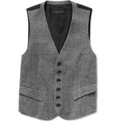 Rag & bone Grey Grosvenor Herringbone Wool Waistcoat