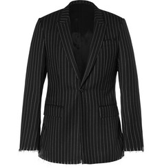 Givenchy Black Slim-Fit Pinstriped Wool Blazer