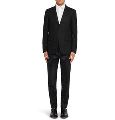 Givenchy Black Slim-Fit Pinstriped Wool Trousers