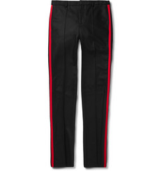 Givenchy Black Slim-Fit Grosgrain-Trimmed Wool-Flannel Trousers