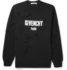 Givenchy Distressed Printed Cotton-Jersey Sweatshirt