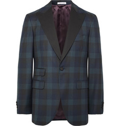 Michael Bastian Midnight-Blue Slim-Fit Checked Wool Tuxedo Jacket