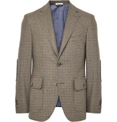 Michael Bastian Sand Slim-Fit Elbow Patch Houndstooth Wool and Cashmere-Blend Blazer