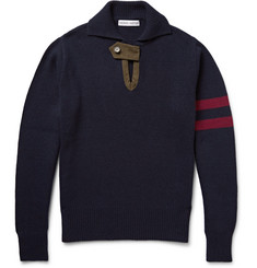 Michael Bastian Suede-Trimmed Cashmere and Wool-Blend Sweater