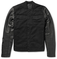 Alexander Wang Padded Cotton-Twill and Leather Jacket
