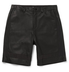 Alexander Wang T by Alexander Wang Leather and Twill Shorts